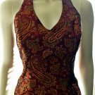 XSCAPE by Lawrence Kurtz - Maroon/Burgundy Paisley Halter Top - Size 6