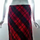 CHETTA B EVENING - *Beautiful* Red & Black Beaded Plaid Skirt - Size 6