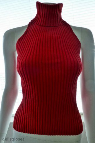 ONE STEP UP  *NWT* - Sexy Red Sparkly Turtleneck Knit Top - Size Large