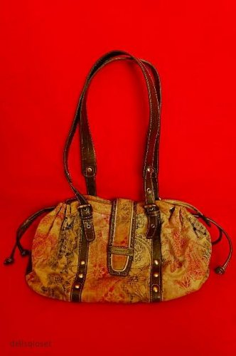 SHARIF STUDIO - Tan Leather Black & Red Design w/ Brown Trim Hobo Shoulder Bag