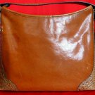 BRAHMIN British Tan/Nutmeg Leather Croc-Embossed Shoulder Bag Tote