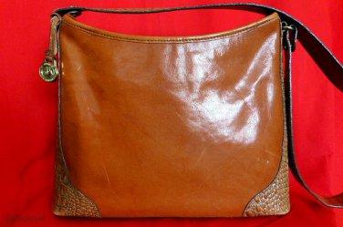 BRAHMIN British Tan/Nutmeg Leather Croc-Embossed Shoulder Bag Tote