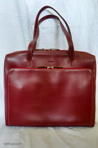 *Beautiful* LODIS Red Leather Audrey Laptop Briefcase Shoulder Bag Tote