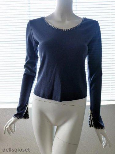*NWT* LUCKY BRAND Boho Blue Long Sleeve w/ Creme Embroidery Detail - Size Medium
