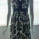 ANN TAYLOR LOFT PETITES Sleeveless Black & White Jacquard Print Dress - Size 0P