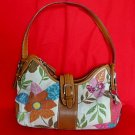 FOSSIL Floral Canvas/Linen Floral Print with Leather Trim Satchel Shoulder Bag