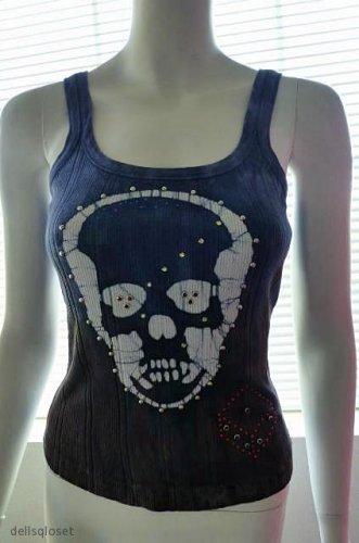 BEBE Blue & Brown Rhinestone Studded Skull Cotton Tank Top - Size Medium