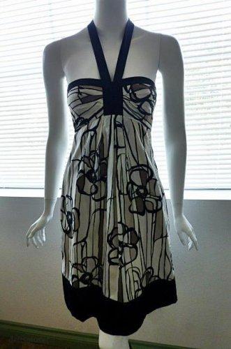 BCBG MAX AZRIA Silk Black Beige Creme Floral Halter Dress - Size 6
