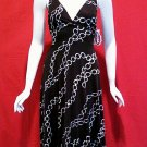 *NWT* HALE BOB Black & Gray Chain Link Print Sleeveless Silk Dress - Extra Small