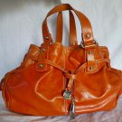 "FRANCESCO BIASIA Beautiful Orange Glazed/Glossy Leather ""Gypsy Rain"" Hobo/Tote Shoulder Bag"