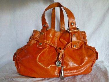 "FRANCESCO BIASIA Beautiful Orange Glazed/Glossy Leather ""Gypsy Rain"" Hobo/Tote Shoulder Bag"