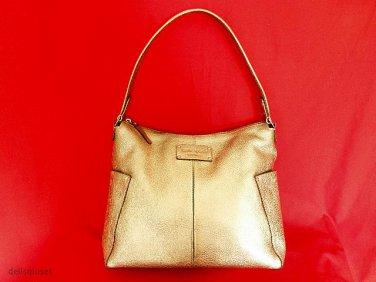 """KATE SPADE Gold Metallic Yardley """"Serena"""" Pebbled Leather Shoulder Bag Handbag"""