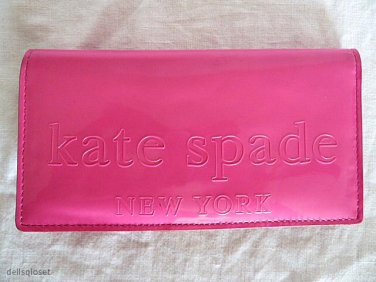 """KATE SPADE New York """"Big Apple Stacy"""" Pink Patent Leather & Gold Interior Wallet"""