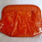 "*NWOT* LAUREN MERKIN ""Lucy"" Orange Croc-Embossed Leather Clutch Bag"