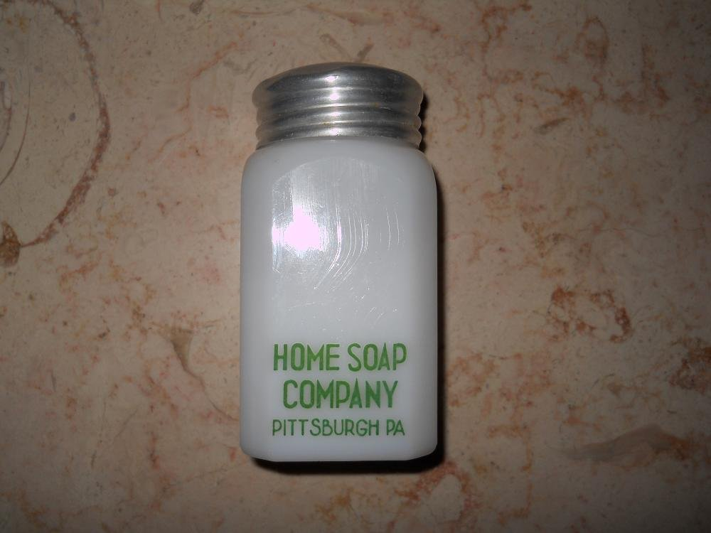 Home Soap Company  - White Glass Bottle With Tin Lid