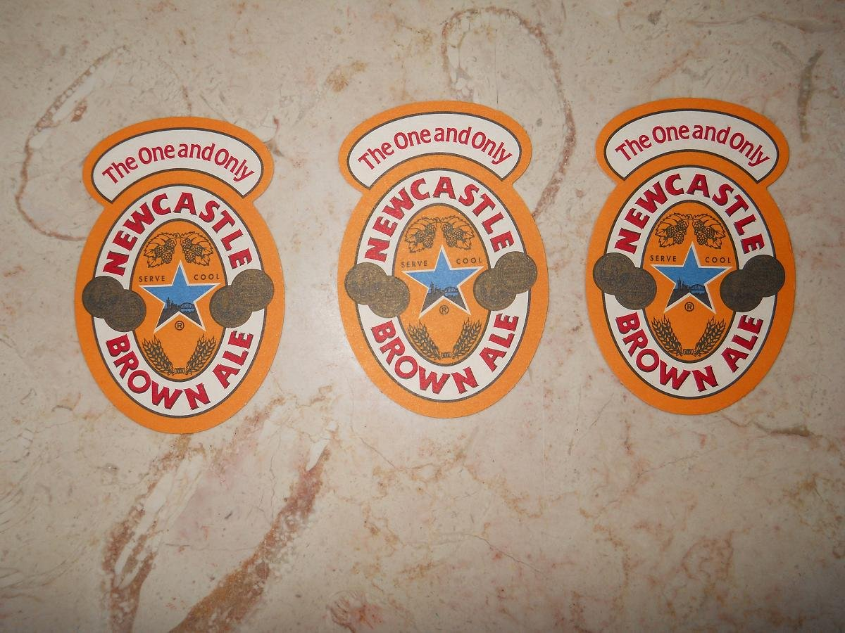 Newcastle Brown Ale - Set Of 3 Coasters - Cardboard - New
