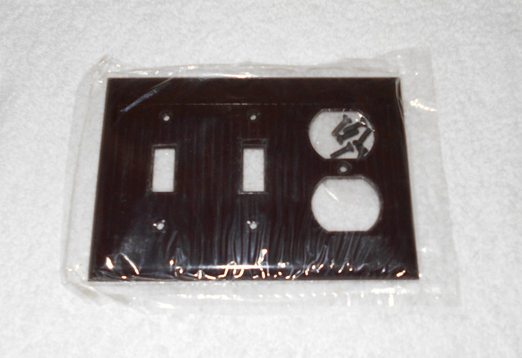 Sierra Electric - Double Switch, Single Outlet Wallplate - Fluted - Brown Bakelite - Vintage - New