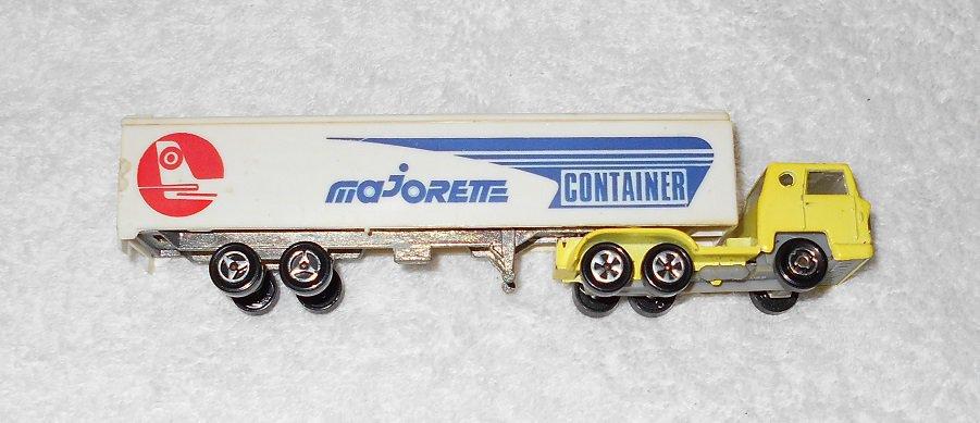 Majorette - Tractor Trailer - Yellow Metal Cab - White Plastic Trailer - Vintage