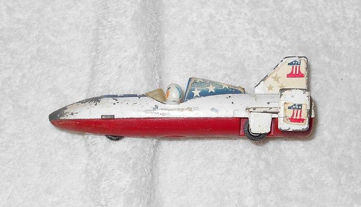 Ideal - Rocket Car - #U5A-1453 - Red, White & Blue - Metal - Vintage
