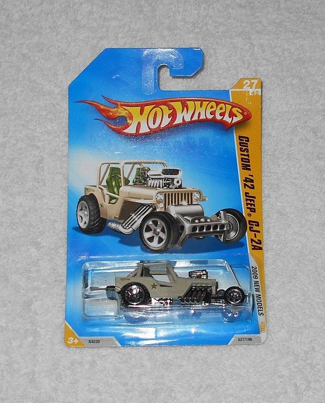 Hot Wheels - Custom '42 Jeep CJ-2A - #27 - Tan - 2009 - New