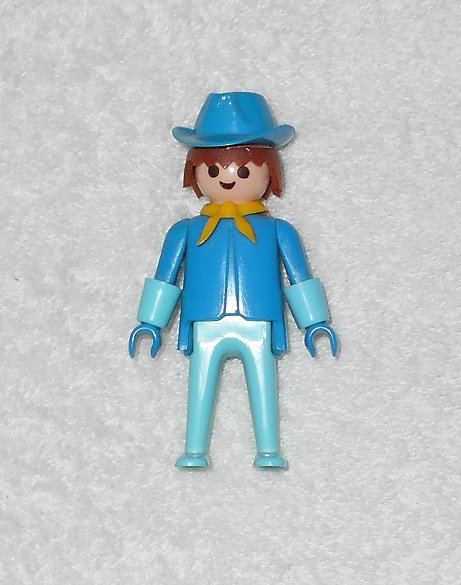 Playmobil - Cavalry Figure - Blue With Brown Hair - Vintage