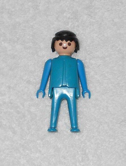 Playmobil - Blue Figure With Black Hair - Vintage