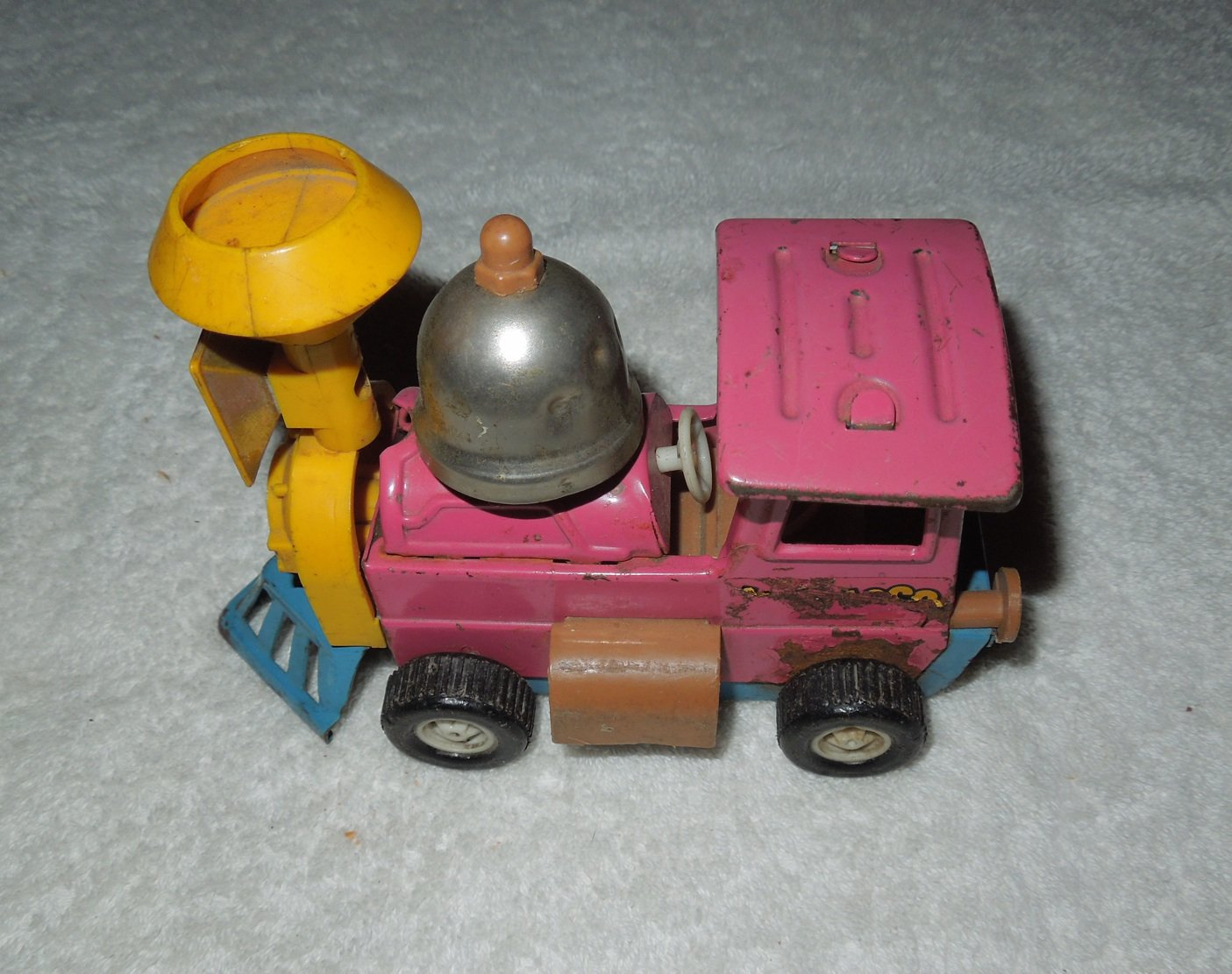 Topper - Metal Toy Train With Bell - Purple - Motor Not Included - Vintage