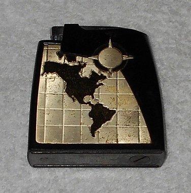 Brown & Bigelow - Statesman Remembrance Lighter - Black Bakelite Case w/ Goldtone World Map