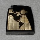 Brown & Bigelow - Statesman Remembrance Lighter - Black Bakelite Case w/ Goldtone World Map