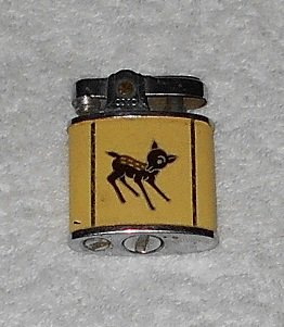 Continental Lighter - Stainless Steel w/ Black Fawn On Yellow Enamel Background