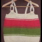 Designer S.Alaksa  Olive,Coral and Cream handknit tank