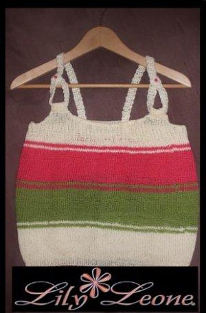Designer S.Alaksa  Olive,Coral and Cream handknit tank