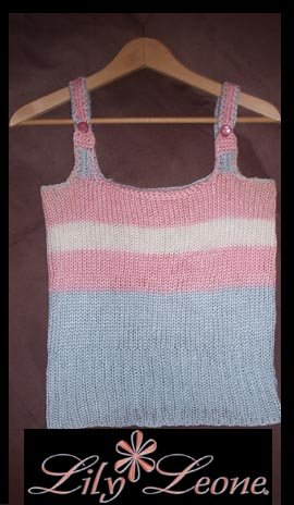 Designer S. Alaksa   Pink, Powder blue and white handknit tank.