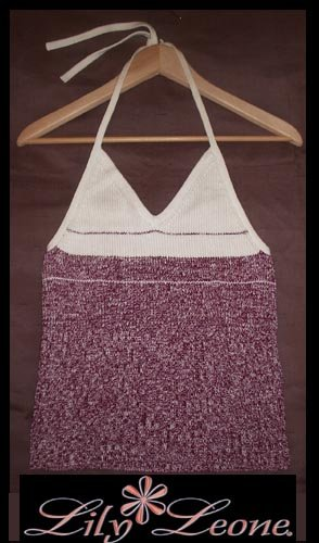 Burgundy and white halter tank.