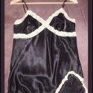 Black satin and Ivory lace cami tank