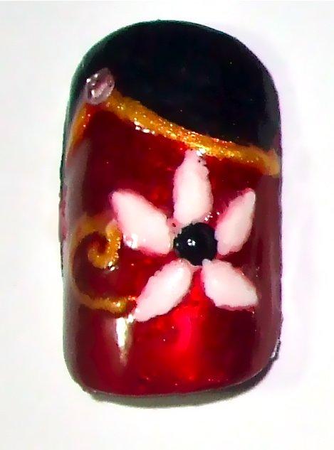 Christmas Poinsettia Flower Nails