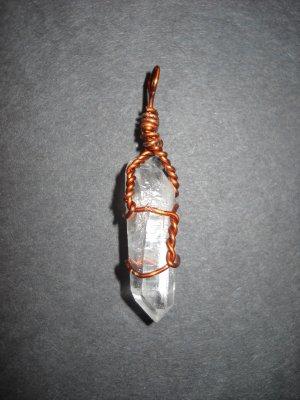 Copper Wrapped Quartz Point Pendant (#1781)