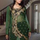 Green designer Kurti / Tunic with stylish with silver bead work