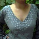 Gray bell full sleeve cotton tunics/Tops