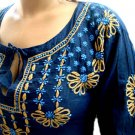 Navy Blue long sleeves Tunic with embroidery