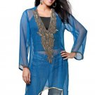 Gold Blue Chiffon Embroidered Tunic