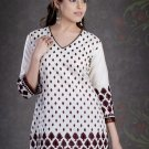 White Cotton Embroidered Designer Tunic/ Top