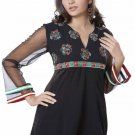 Bluish black Georgette Long Sleeve Tunic Top Blouse