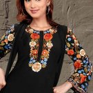Multi color embroidery Ladies Black Tunic Top