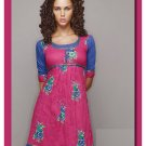 Pink Cotton Elbow length sleeve in casual Tunic Top