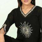 Black Cotton Stones Designer Tunic/ Top