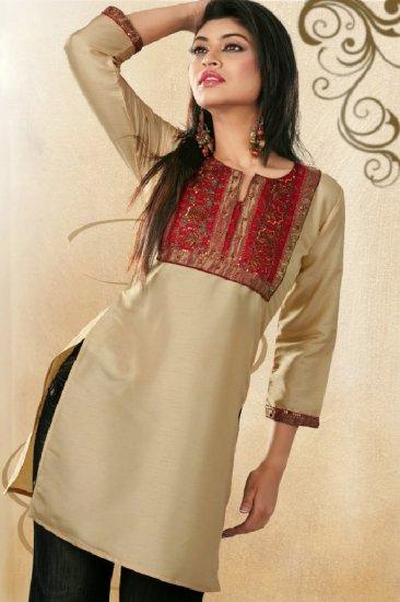Lightweight silk fabrics Embroidered Tunic /Top