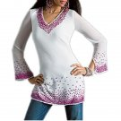 Ladies White fashion Tunics with Long sleeve Top