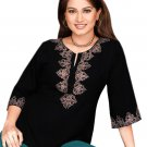 Black Cotton Neck Floral Embroidered Tunic Top Dress