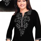 Crepe Fabric Neck Embroidered 3/4 Sleeve Tunic Top